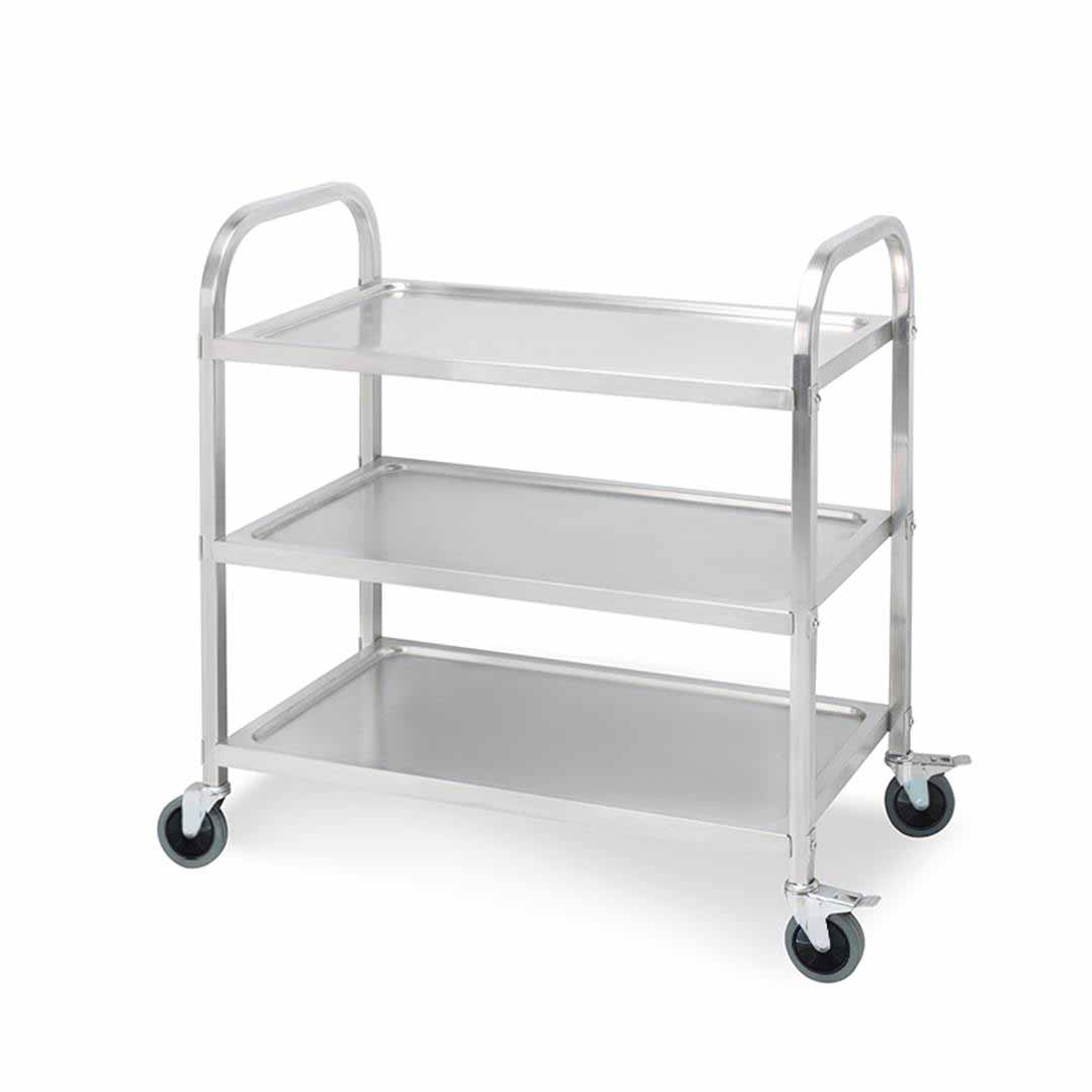 SOGA 3 Tier 95x50x95cm Stainless Steel Kitchen Dinning Food Cart Trolley Utility Size Large