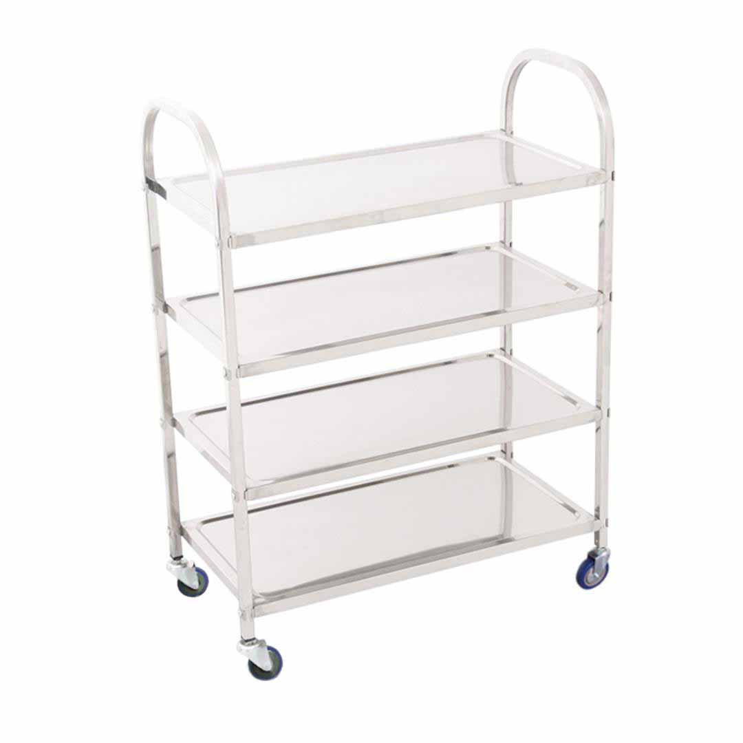 SOGA 4 Tier Stainless Steel Kitchen Dinning Food Cart Trolley Utility Size Square Medium