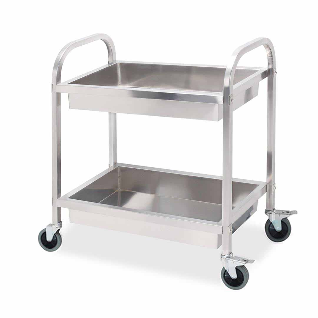 SOGA 2 Tier 75?40?83cm Stainless Steel Kitchen Trolley Bowl Collect Service Food Cart Small