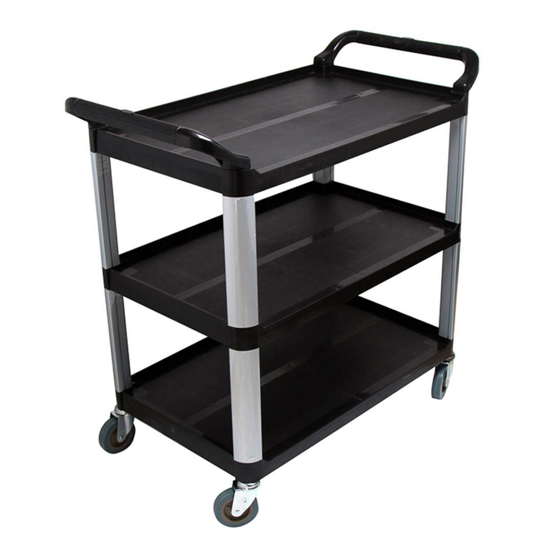 SOGA 3 Tier Food Trolley Food Waste Cart Storage Mechanic Kitchen Black Large