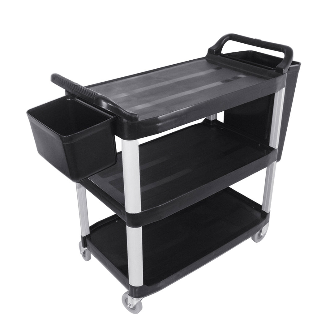 SOGA 3 Tier 83x43x95cm Food Trolley Food Waste Cart With Two Bins Storage Kitchen Black Small