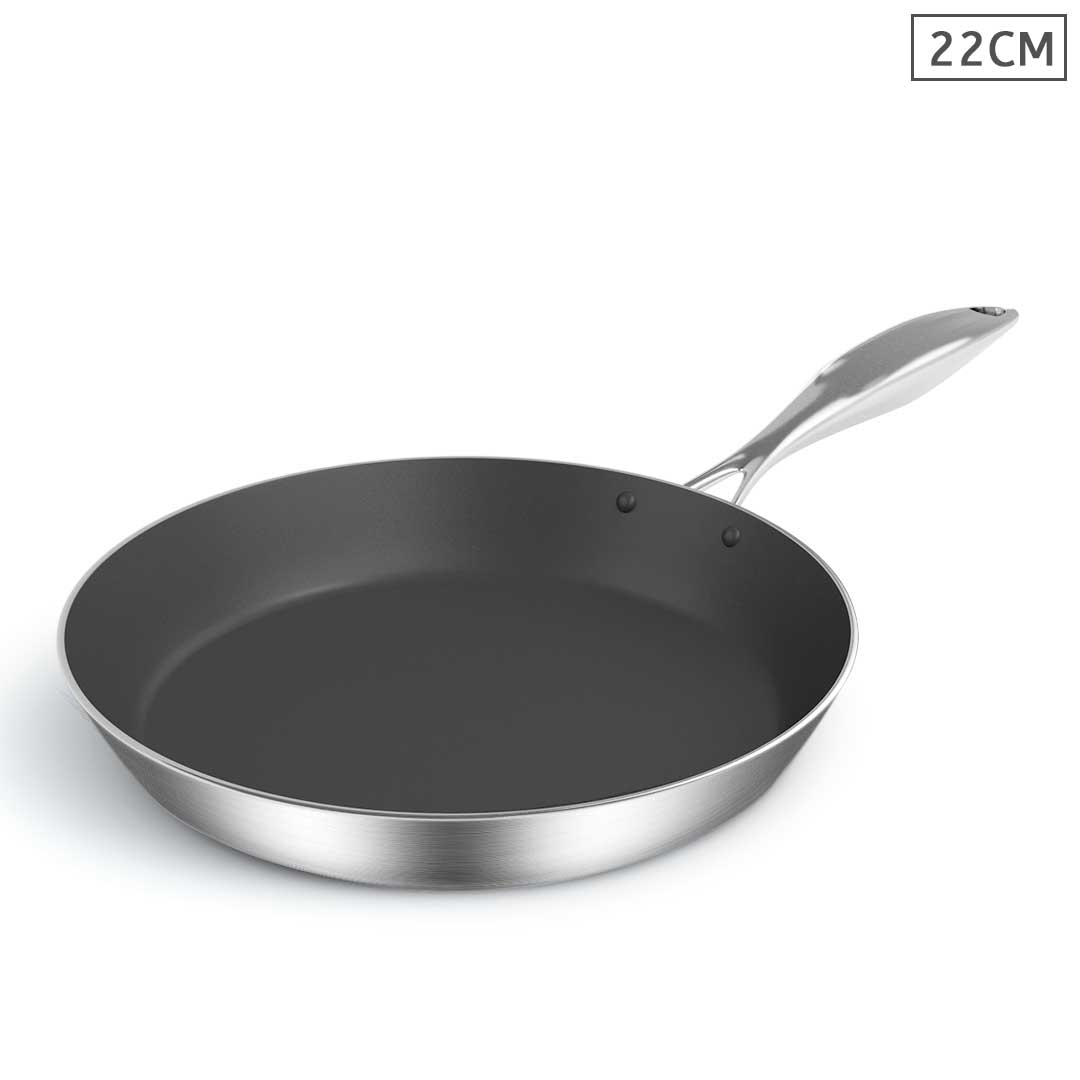 SOGA Stainless Steel Fry Pan 22cm Frying Pan Induction FryPan Non Stick Interior