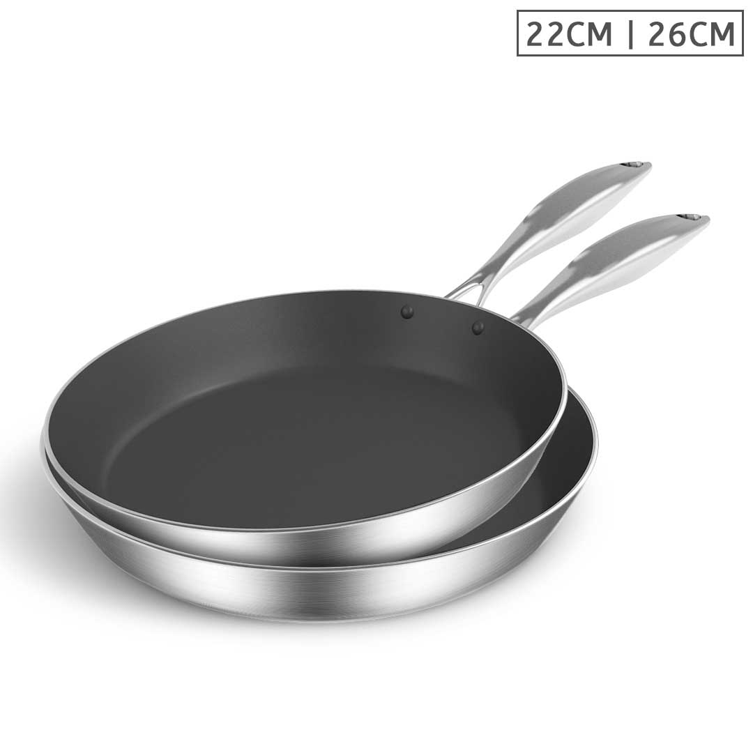SOGA Stainless Steel Fry Pan 22cm 26cm Frying Pan Induction Non Stick Interior
