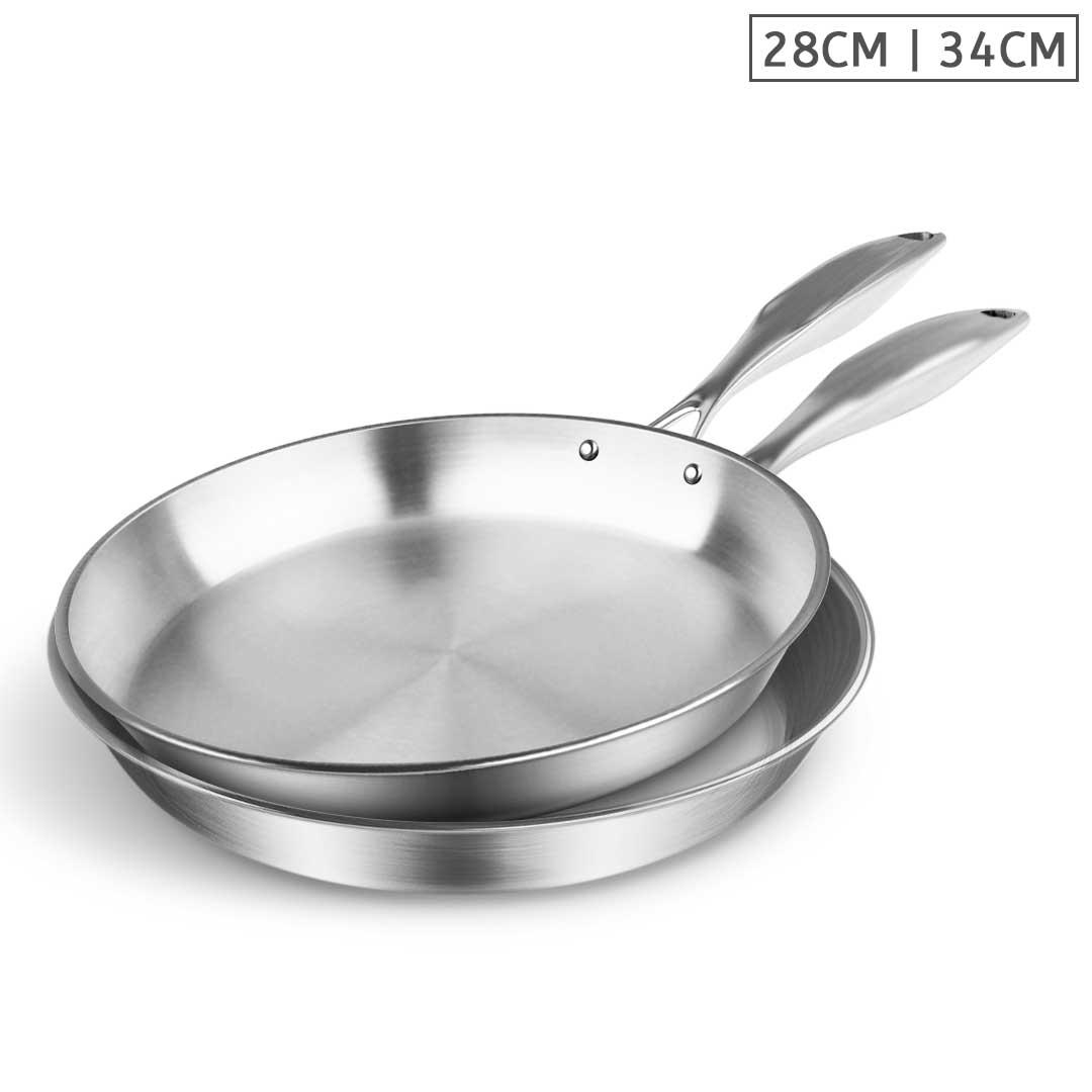 SOGA Stainless Steel Fry Pan 28cm 34cm Frying Pan Top Grade Induction Cooking