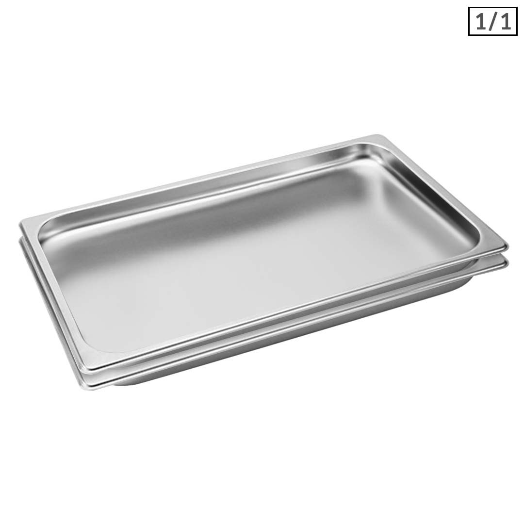 SOGA 2X Gastronorm GN Pan Full Size 1/1 GN Pan 2cm Deep Stainless Steel Tray