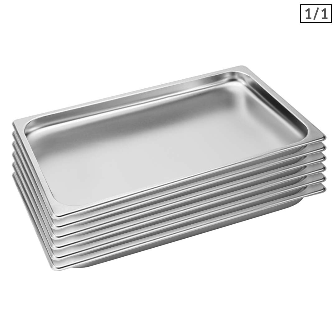 SOGA 6X Gastronorm GN Pan Full Size 1/1 GN Pan 2cm Deep Stainless Steel Tray