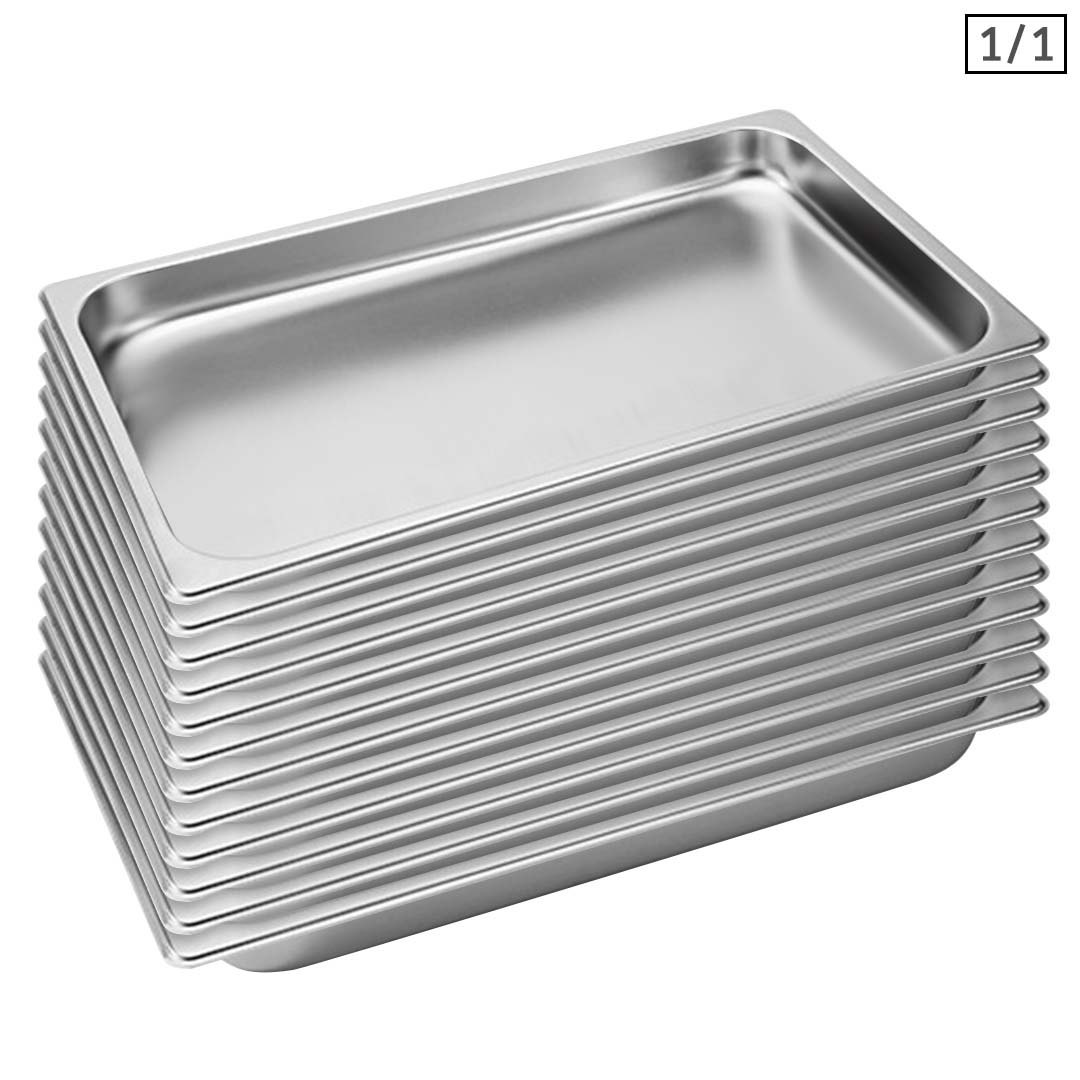 SOGA 12X Gastronorm GN Pan Full Size 1/1 GN Pan 4cm Deep Stainless Steel Tray