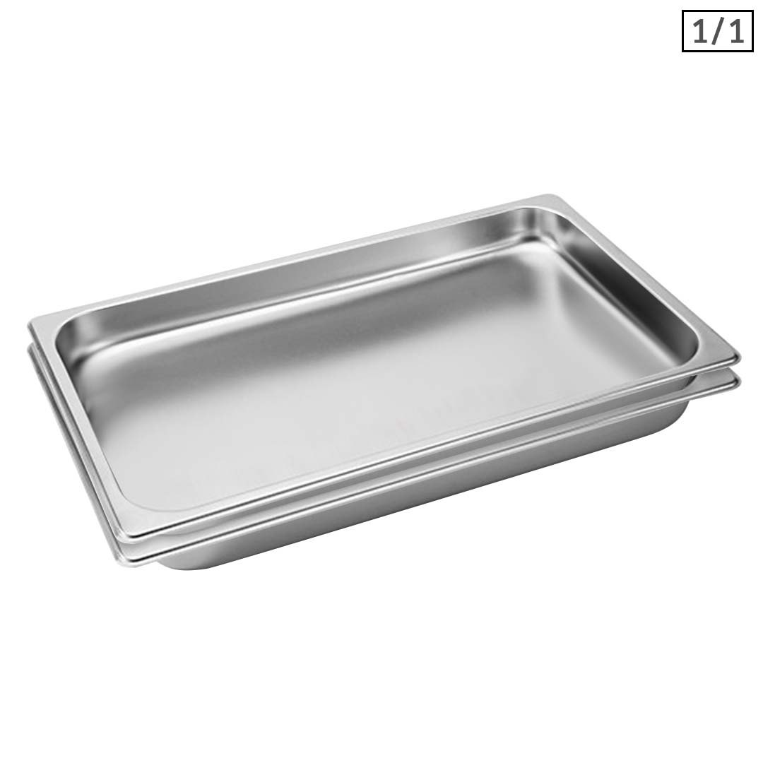 SOGA 2X Gastronorm GN Pan Full Size 1/1 GN Pan 4cm Deep Stainless Steel Tray