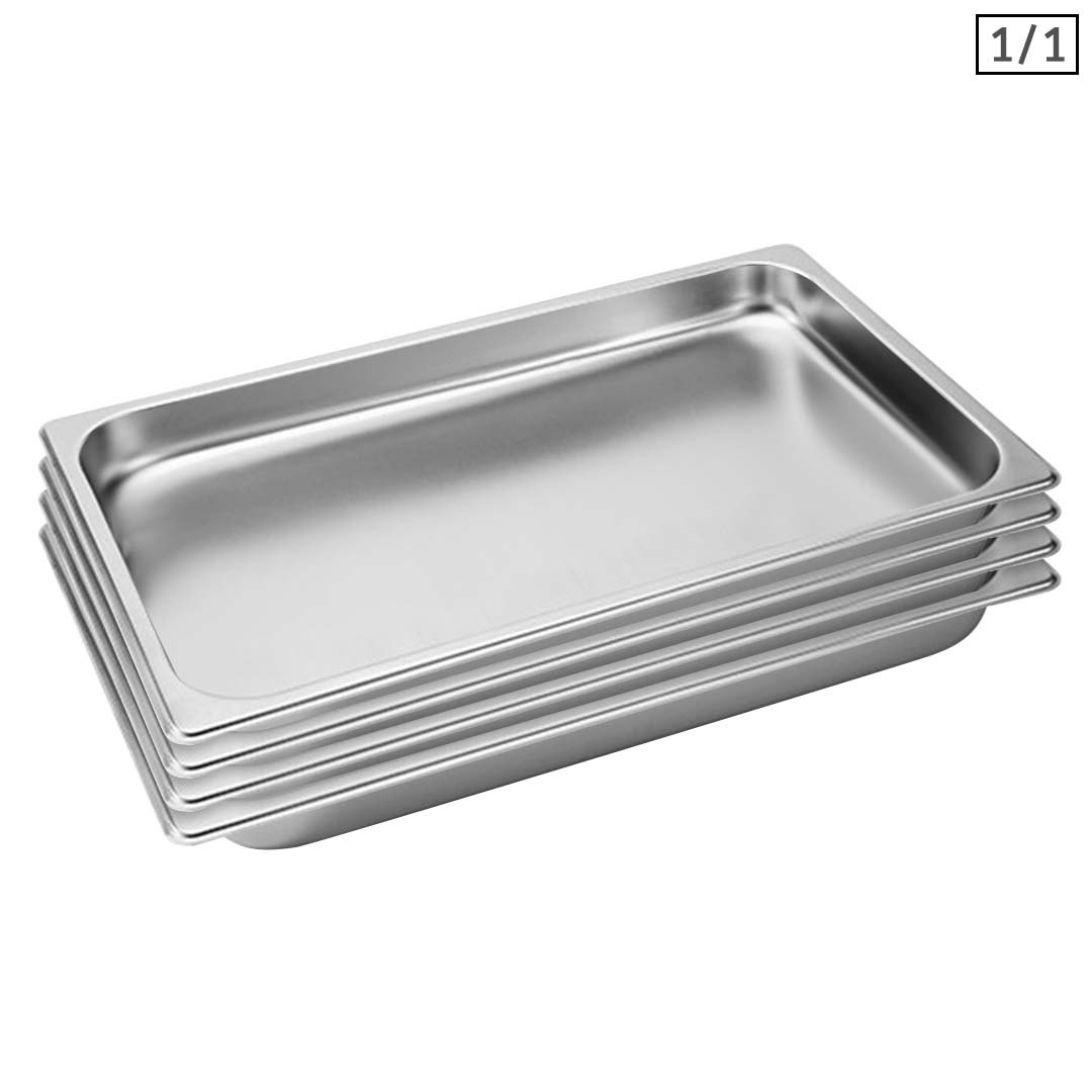 SOGA 4X Gastronorm GN Pan Full Size 1/1 GN Pan 4cm Deep Stainless Steel Tray