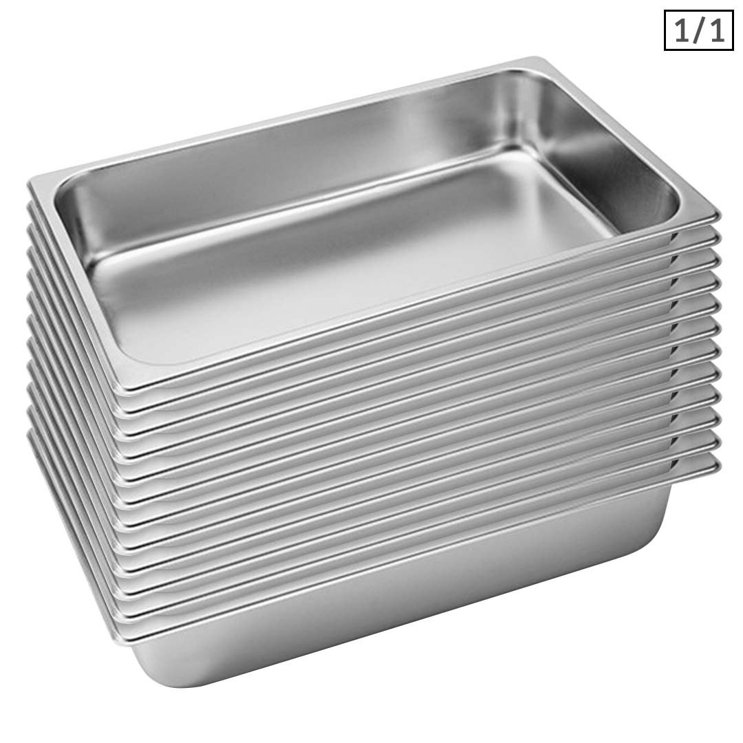 SOGA 12X Gastronorm GN Pan Full Size 1/1 GN Pan 10cm Deep Stainless Steel Tray