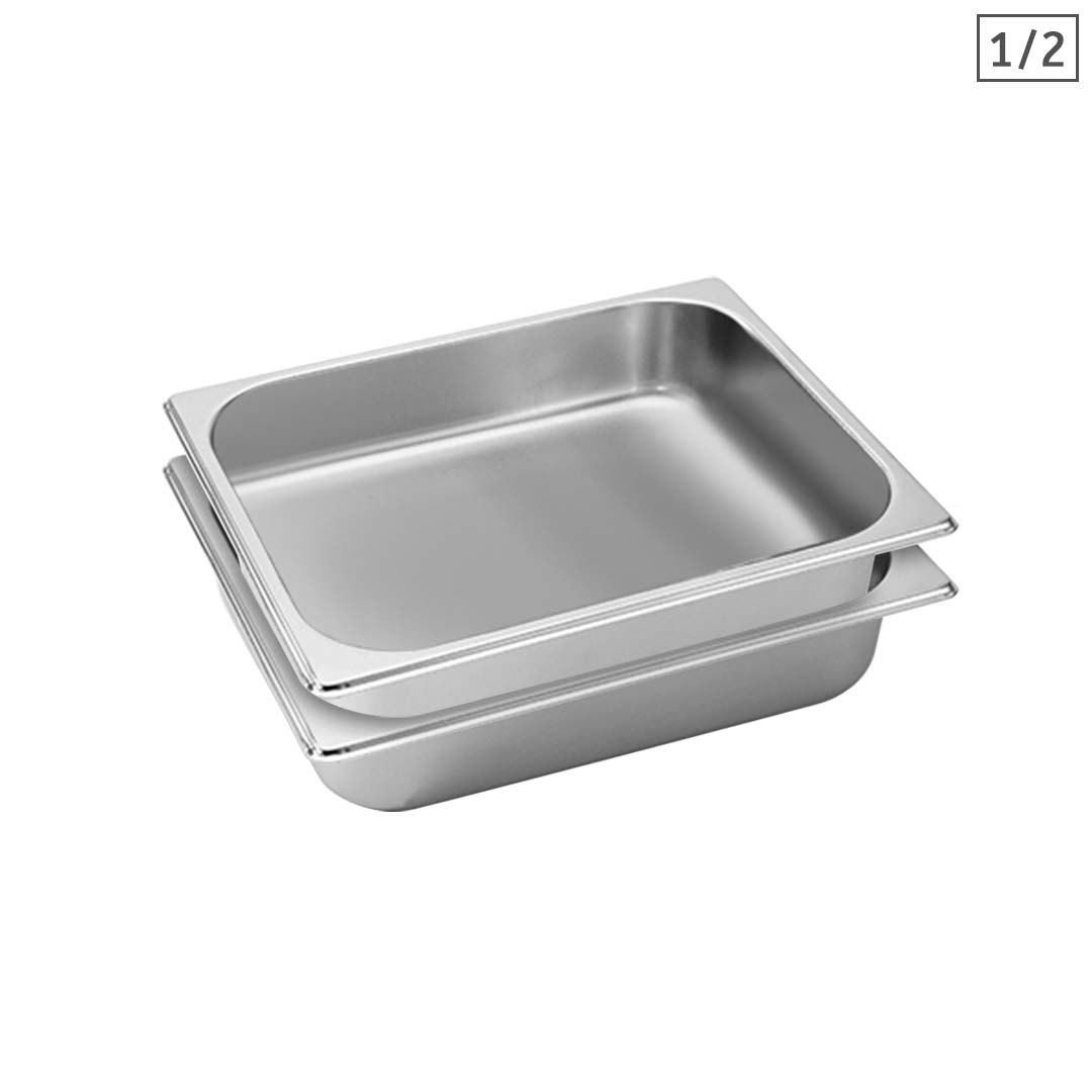SOGA 2X Gastronorm GN Pan Full Size 1/2 GN Pan 6.5cm Deep Stainless Steel Tray