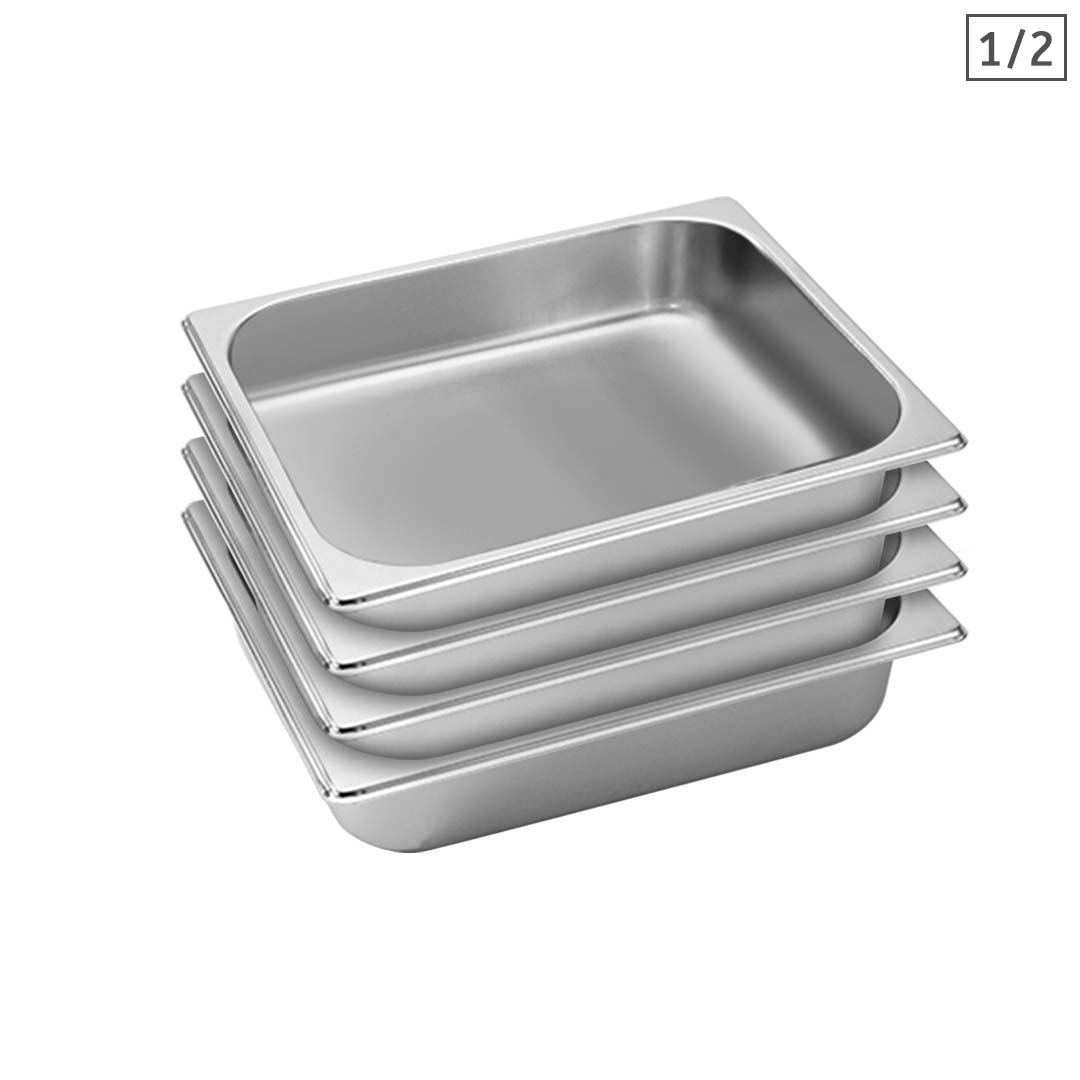SOGA 4X Gastronorm GN Pan Full Size 1/2 GN Pan 6.5cm Deep Stainless Steel Tray