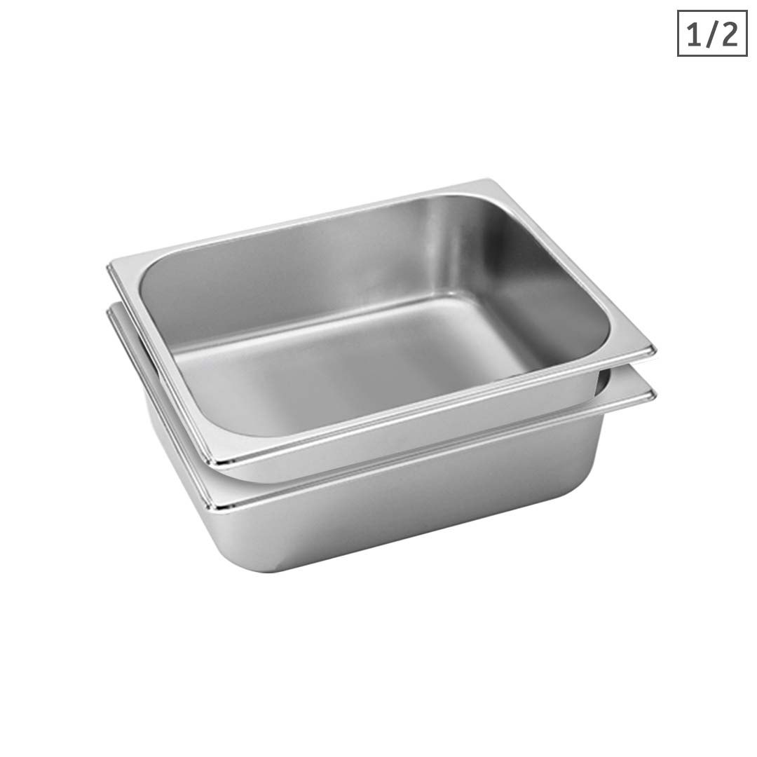 SOGA 2X Gastronorm GN Pan Full Size 1/2 GN Pan 10cm Deep Stainless Steel Tray