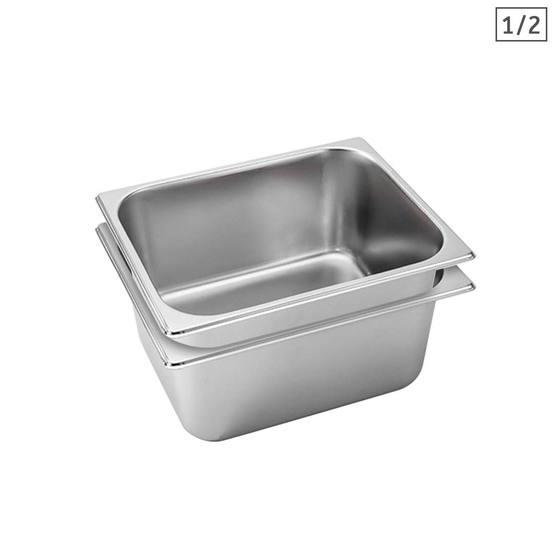 SOGA 2X Gastronorm GN Pan Full Size 1/2 GN Pan 15cm Deep Stainless Steel Tray