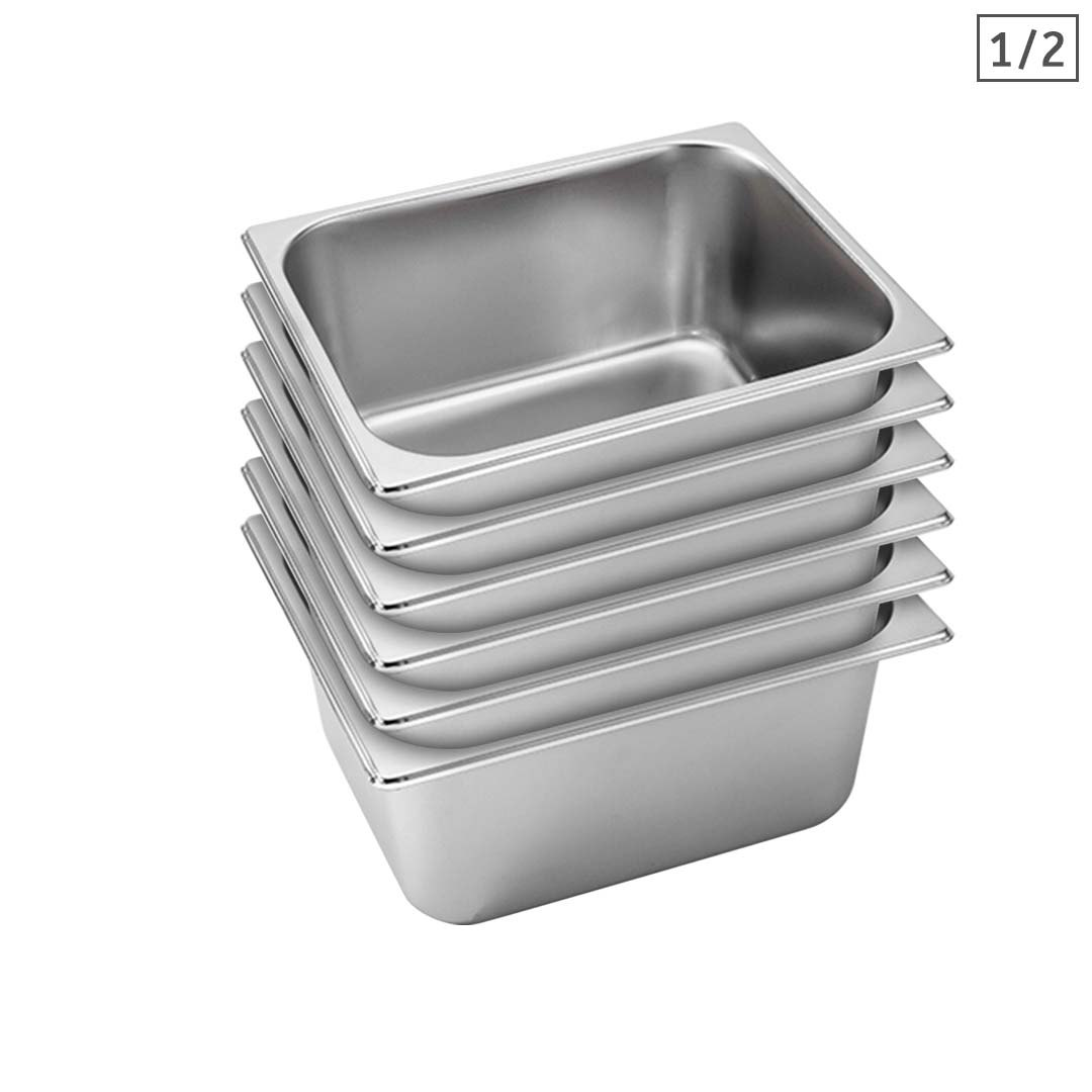 SOGA 6X Gastronorm GN Pan Full Size 1/2 GN Pan 15cm Deep Stainless Steel Tray