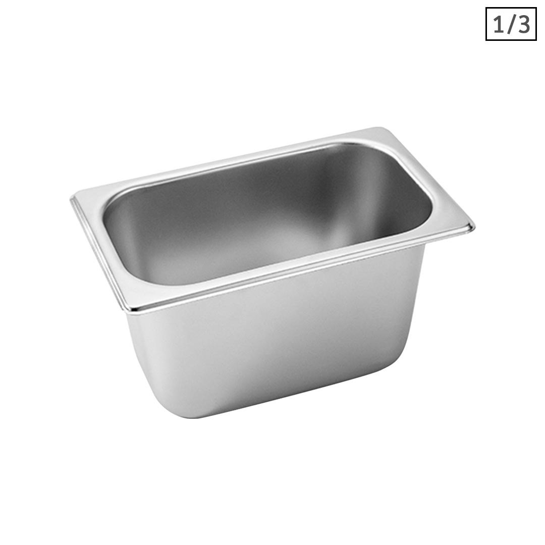 SOGA Gastronorm GN Pan Full Size 1/3 GN Pan 15cm Deep Stainless Steel Tray