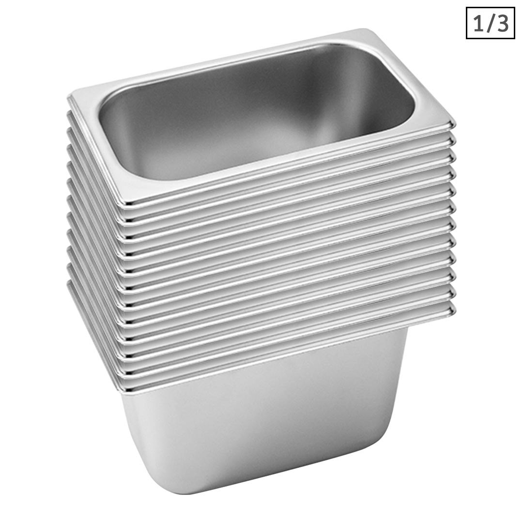SOGA 12X Gastronorm GN Pan Full Size 1/3 GN Pan 15cm Deep Stainless Steel Tray