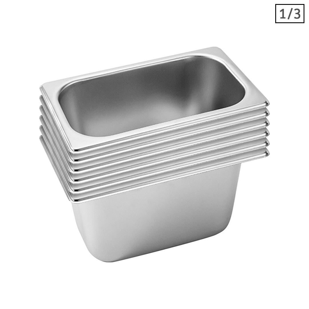 SOGA 6X Gastronorm GN Pan Full Size 1/3 GN Pan 15cm Deep Stainless Steel Tray