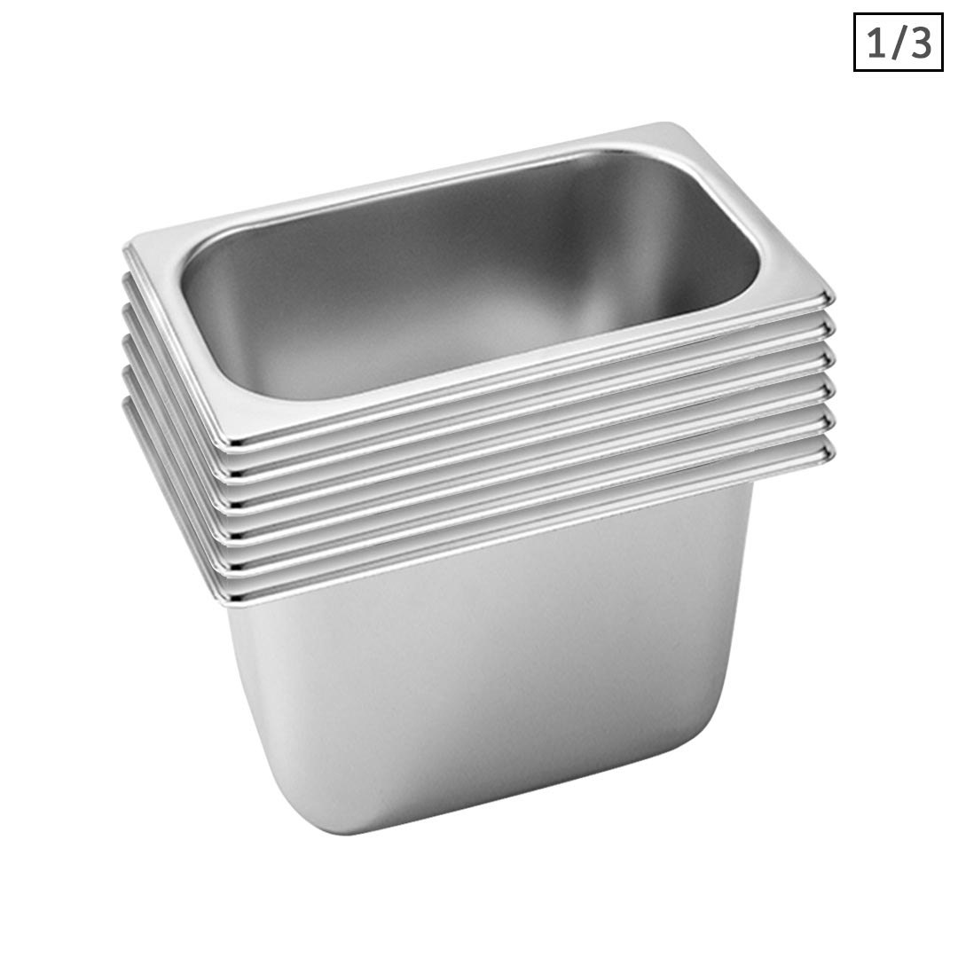 SOGA 6X Gastronorm GN Pan Full Size 1/3 GN Pan 20cm Deep Stainless Steel Tray
