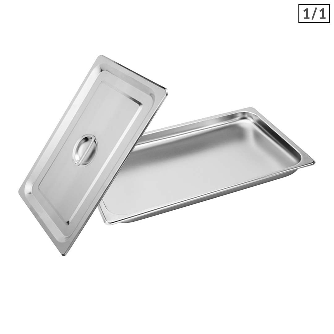 SOGA Gastronorm GN Pan Full Size 1/1 GN Pan 2cm Deep Stainless Steel Tray With Lid
