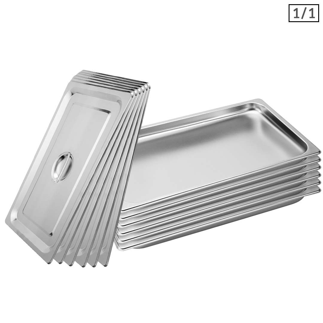 SOGA 6X Gastronorm GN Pan Full Size 1/1 GN Pan 2cm Deep Stainless Steel Tray With Lid