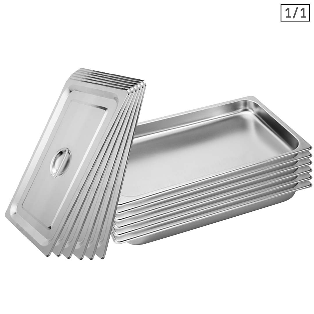 SOGA 6X Gastronorm GN Pan Full Size 1/1 GN Pan 4cm Deep Stainless Steel Tray With Lid