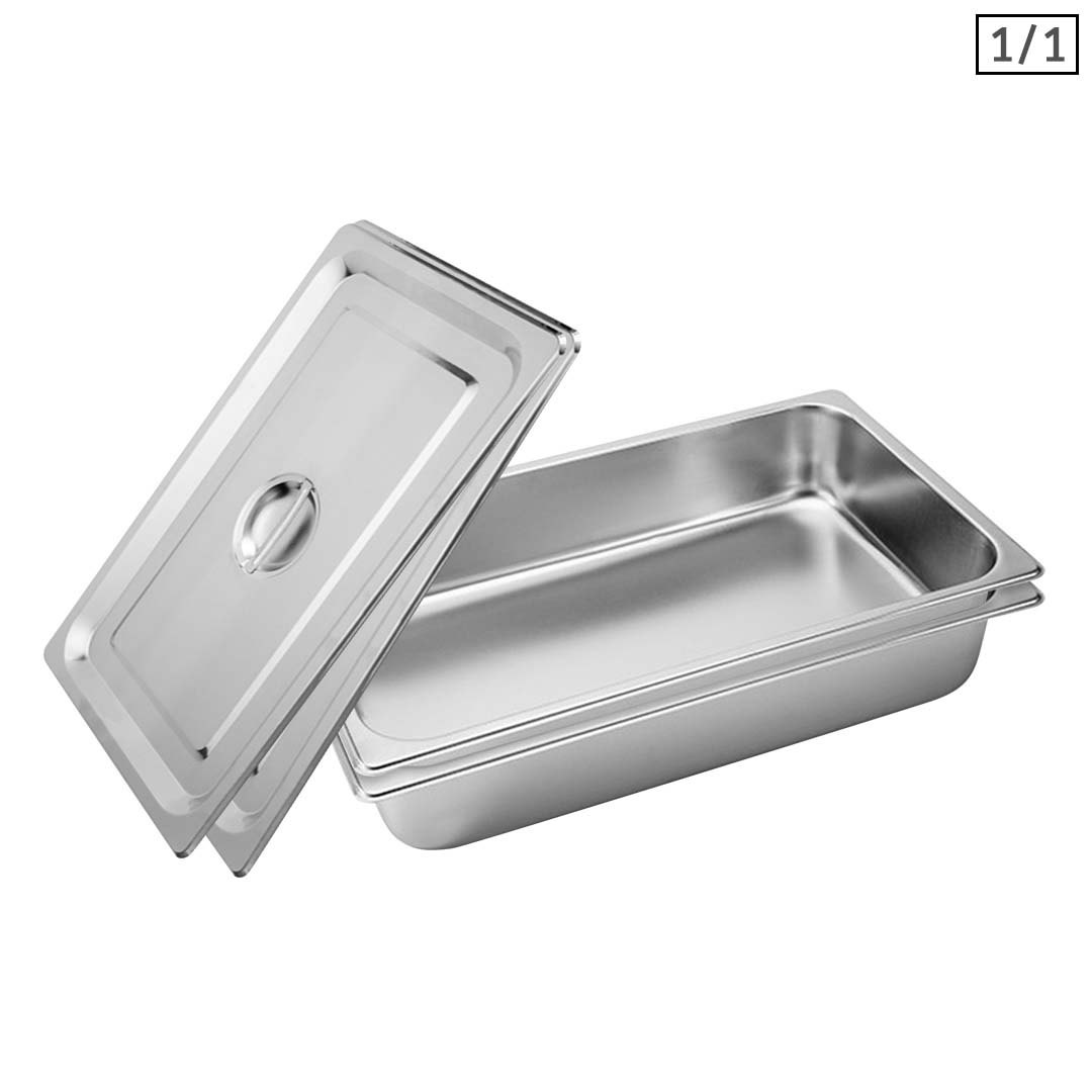 SOGA 2X Gastronorm GN Pan Full Size 1/1 GN Pan 10cm Deep Stainless Steel Tray With Lid