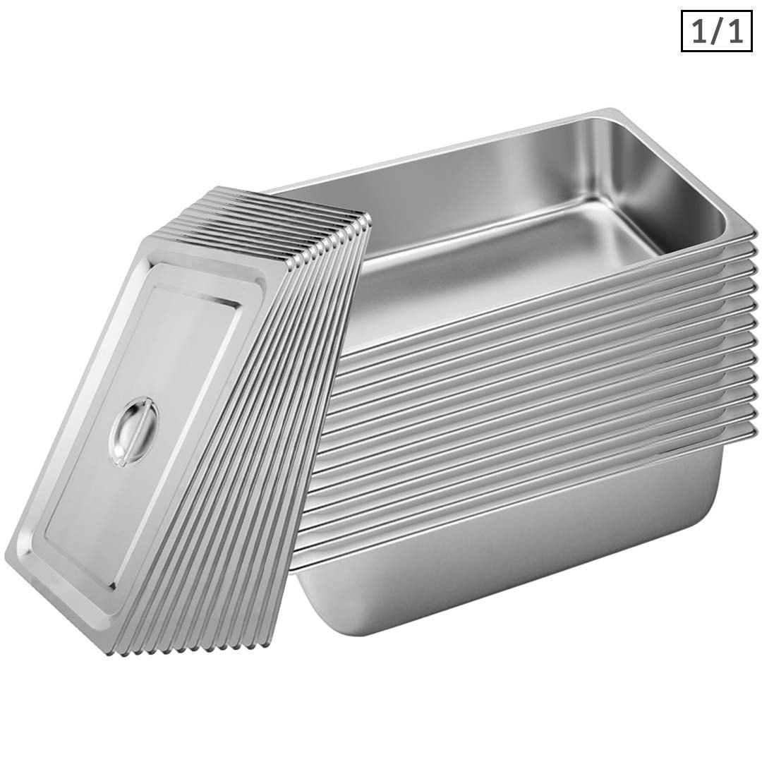 SOGA 12X Gastronorm GN Pan Full Size 1/1 GN Pan 15cm Deep Stainless Steel Tray With Lid