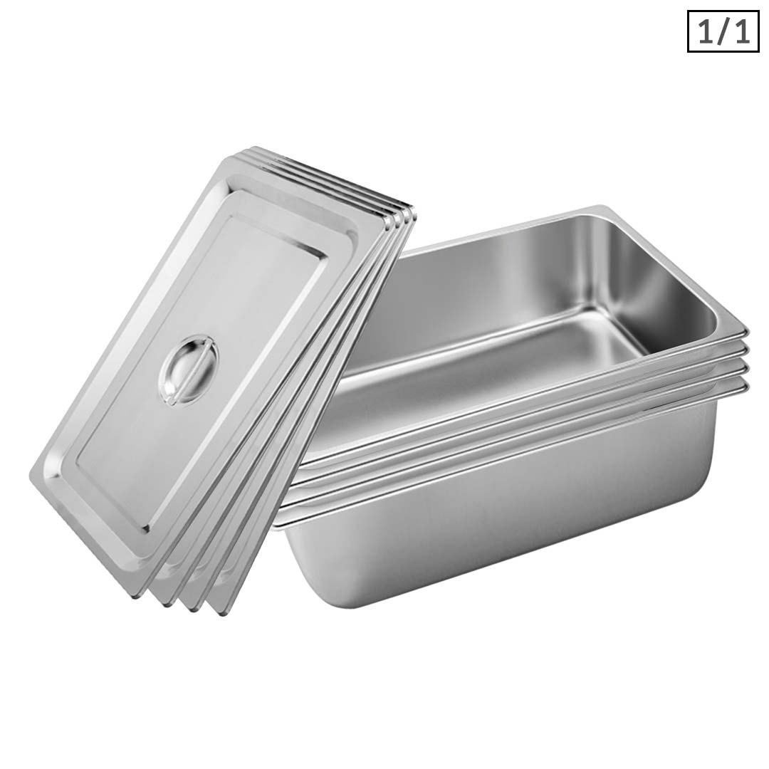 SOGA 4X Gastronorm GN Pan Full Size 1/1 GN Pan 20cm Deep Stainless Steel Tray With Lid