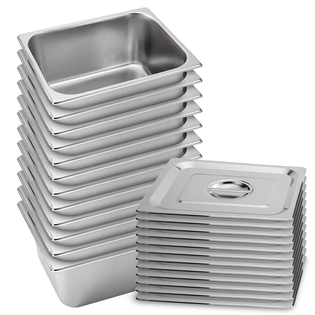 SOGA 12X Gastronorm GN Pan Full Size 1/2 GN Pan 15cm Deep Stainless Steel Tray With Lid