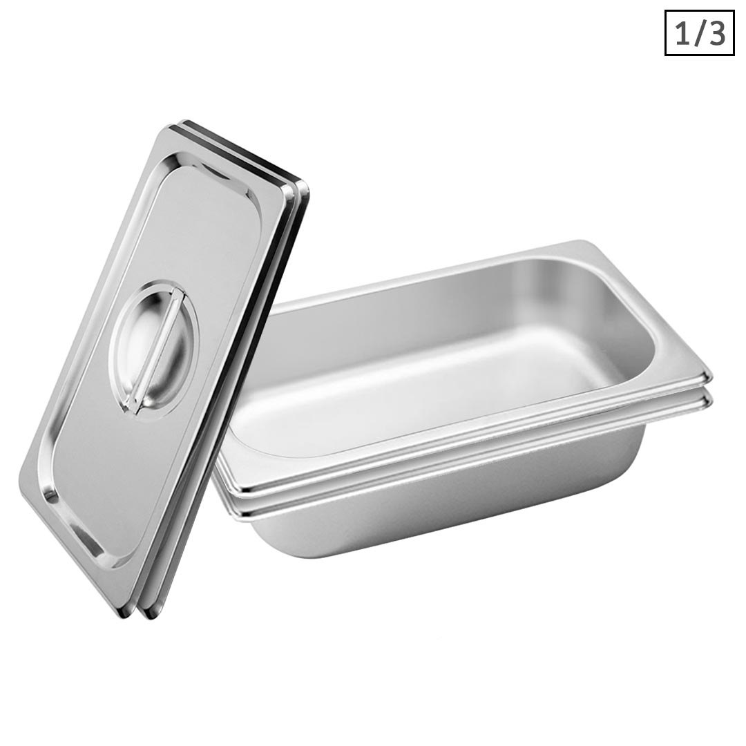 SOGA 2X Gastronorm GN Pan Full Size 1/3 GN Pan 6.5 cm Deep Stainless Steel Tray With Lid