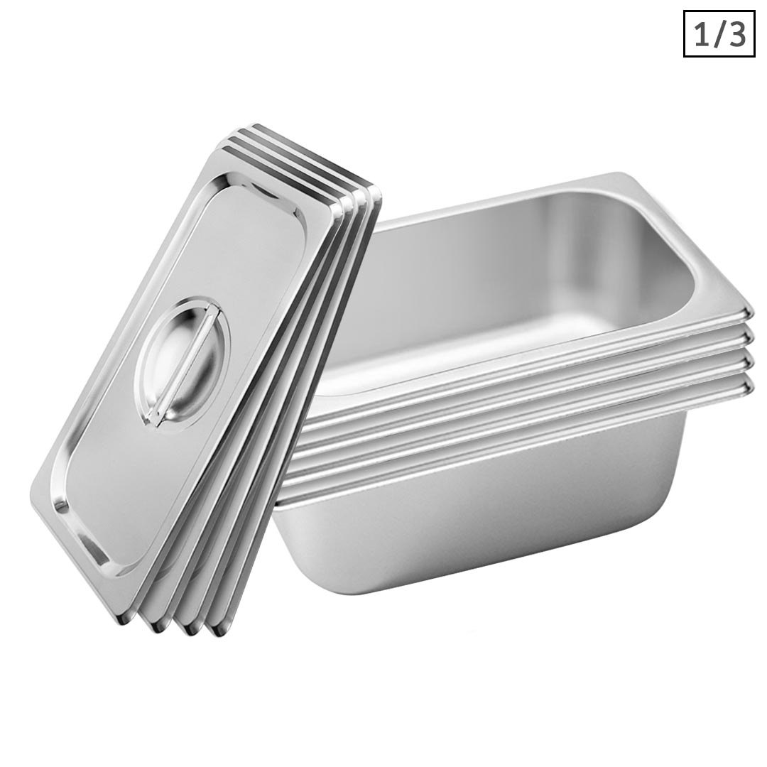 SOGA 4X Gastronorm GN Pan Full Size 1/3 GN Pan 10cm Deep Stainless Steel Tray With Lid