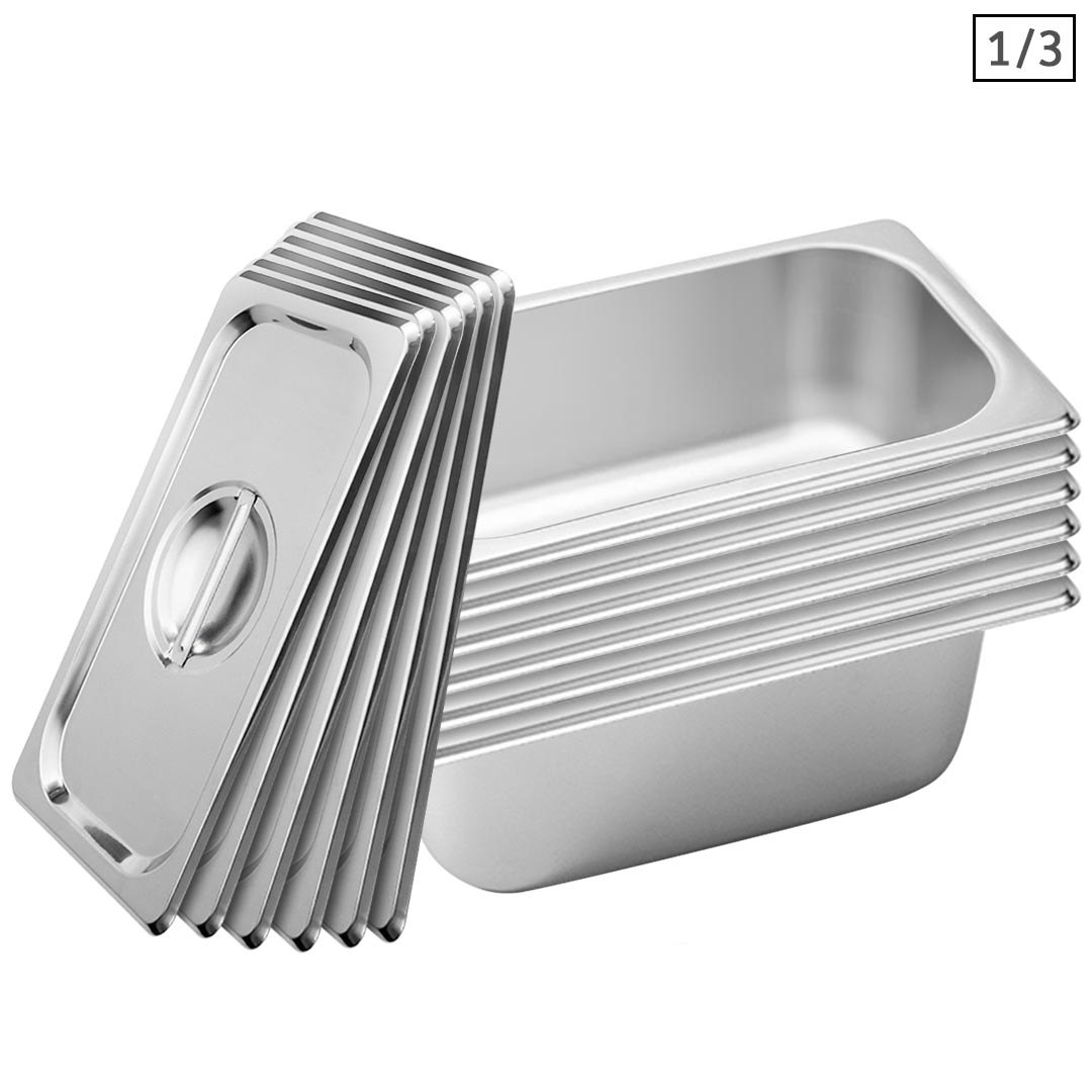 SOGA 6X Gastronorm GN Pan Full Size 1/3 GN Pan 10cm Deep Stainless Steel Tray With Lid