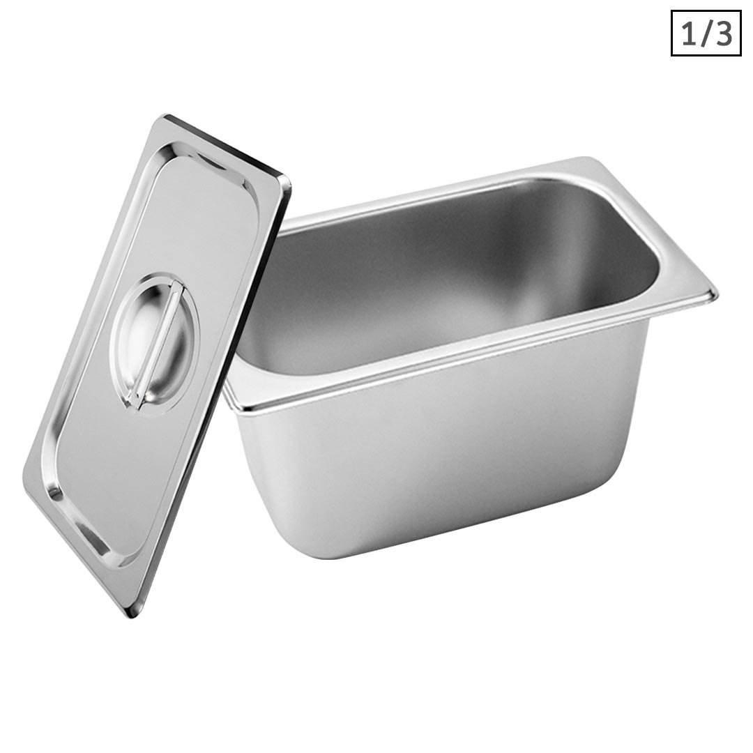 SOGA Gastronorm GN Pan Full Size 1/3 GN Pan 15cm Deep Stainless Steel Tray With Lid