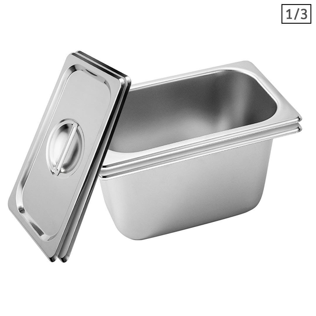 SOGA 2X Gastronorm GN Pan Full Size 1/3 GN Pan 15cm Deep Stainless Steel Tray With Lid