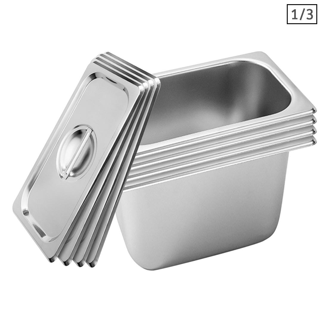 SOGA 4X Gastronorm GN Pan Full Size 1/3 GN Pan 20cm Deep Stainless Steel Tray With Lid