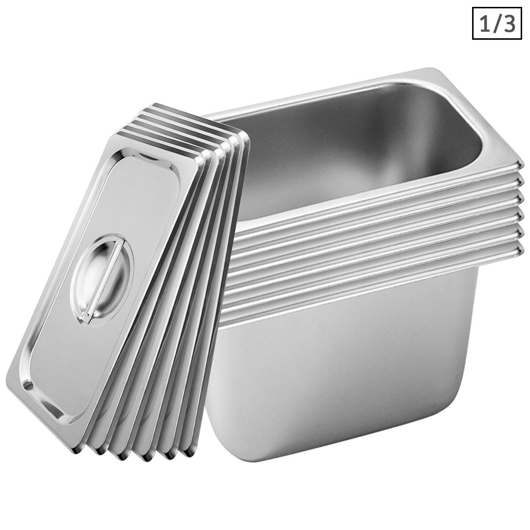 SOGA 6X Gastronorm GN Pan Full Size 1/3 GN Pan 20cm Deep Stainless Steel Tray With Lid