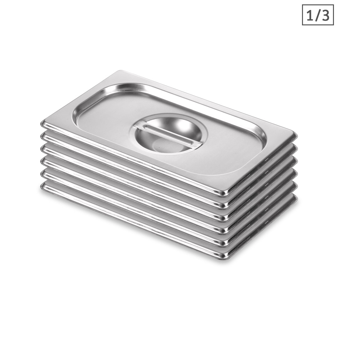 SOGA 6X Gastronorm GN Pan Lid Full Size 1/3 Stainless Steel Tray Top Cover