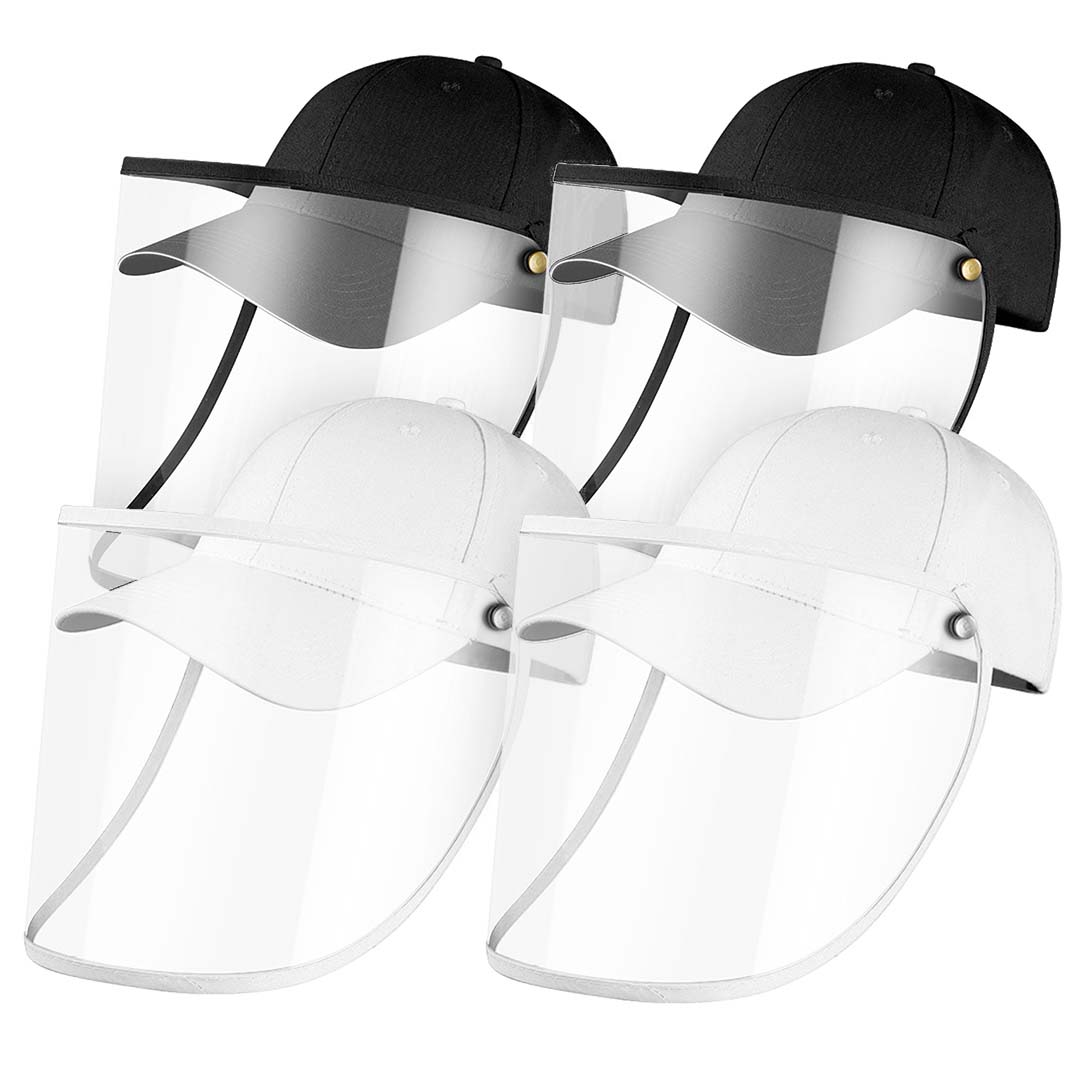 4X Outdoor Protection Hat Anti-Fog Pollution Dust Protective Cap Full Face HD Shield Cover Adult Black/White