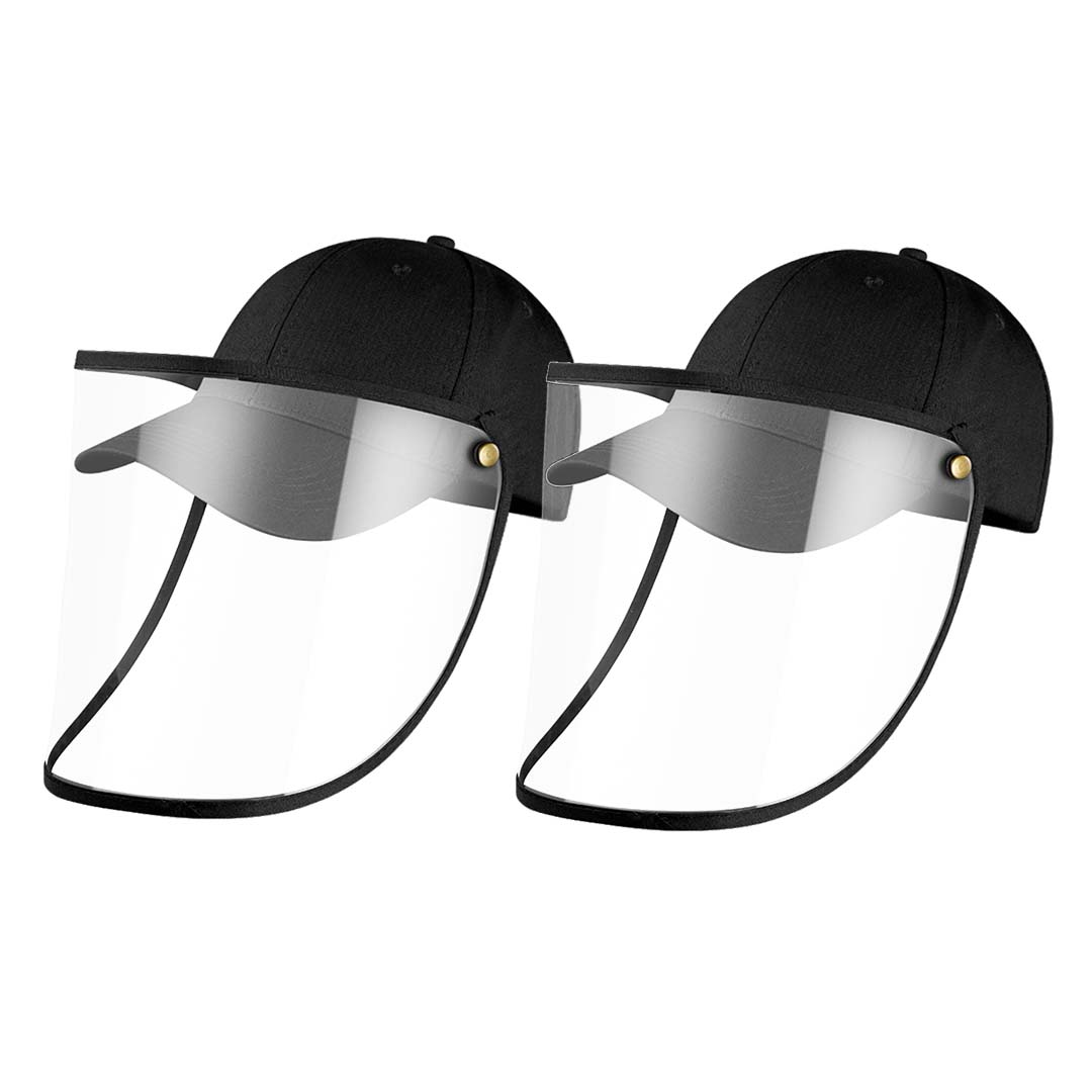 2X Outdoor Protection Hat Anti-Fog Pollution Dust Protective Cap Full Face HD Shield Cover Kids Black