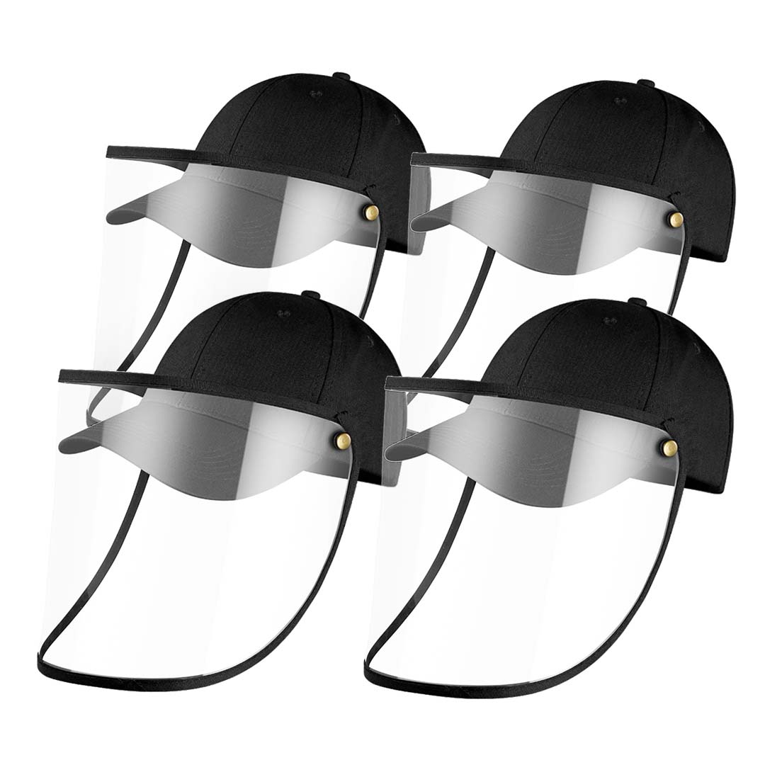 4X Outdoor Protection Hat Anti-Fog Pollution Dust Protective Cap Full Face HD Shield Cover Kids Black