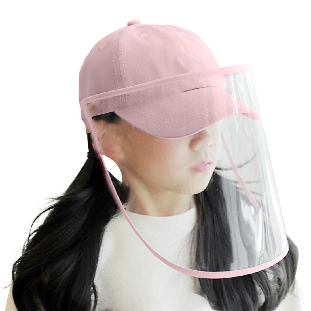 Outdoor Protection Hat Anti-Fog Pollution Dust Protective Cap Full Face HD Shield Cover Kids Pink