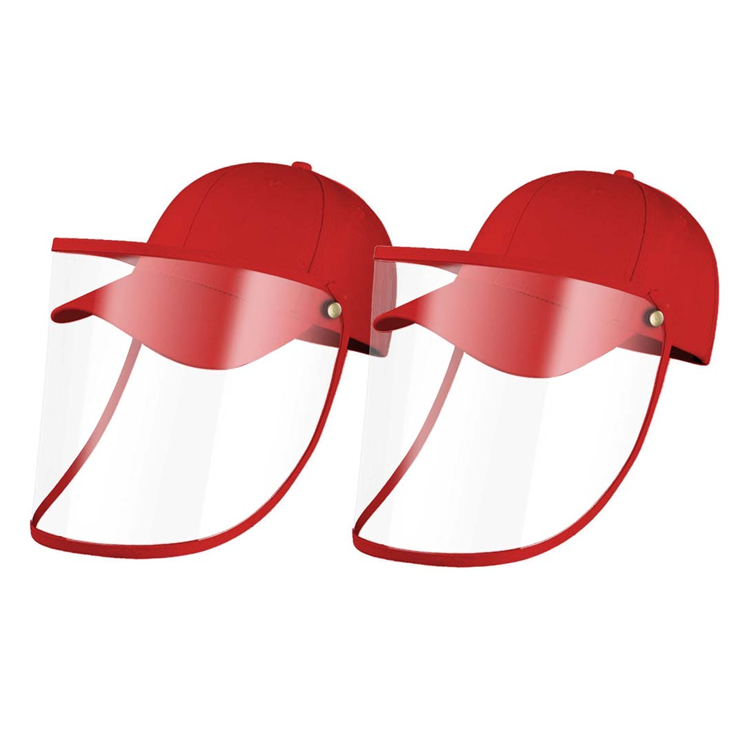 2X Outdoor Protection Hat Anti-Fog Pollution Dust Protective Cap Full Face HD Shield Cover Kids Red