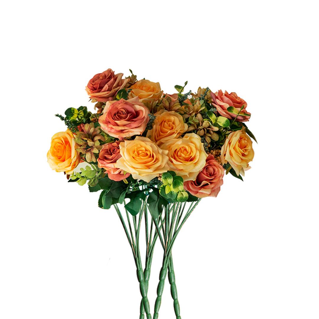 SOGA 4 Bunch Artificial Silk Rose 11 Heads Flower Fake Bridal Bouquet Table Decor
