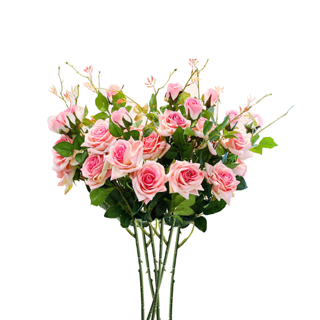 SOGA 6 Bunch Artificial Silk Rose 5 Heads Flower Fake Bridal Bouquet Table Decor Pink