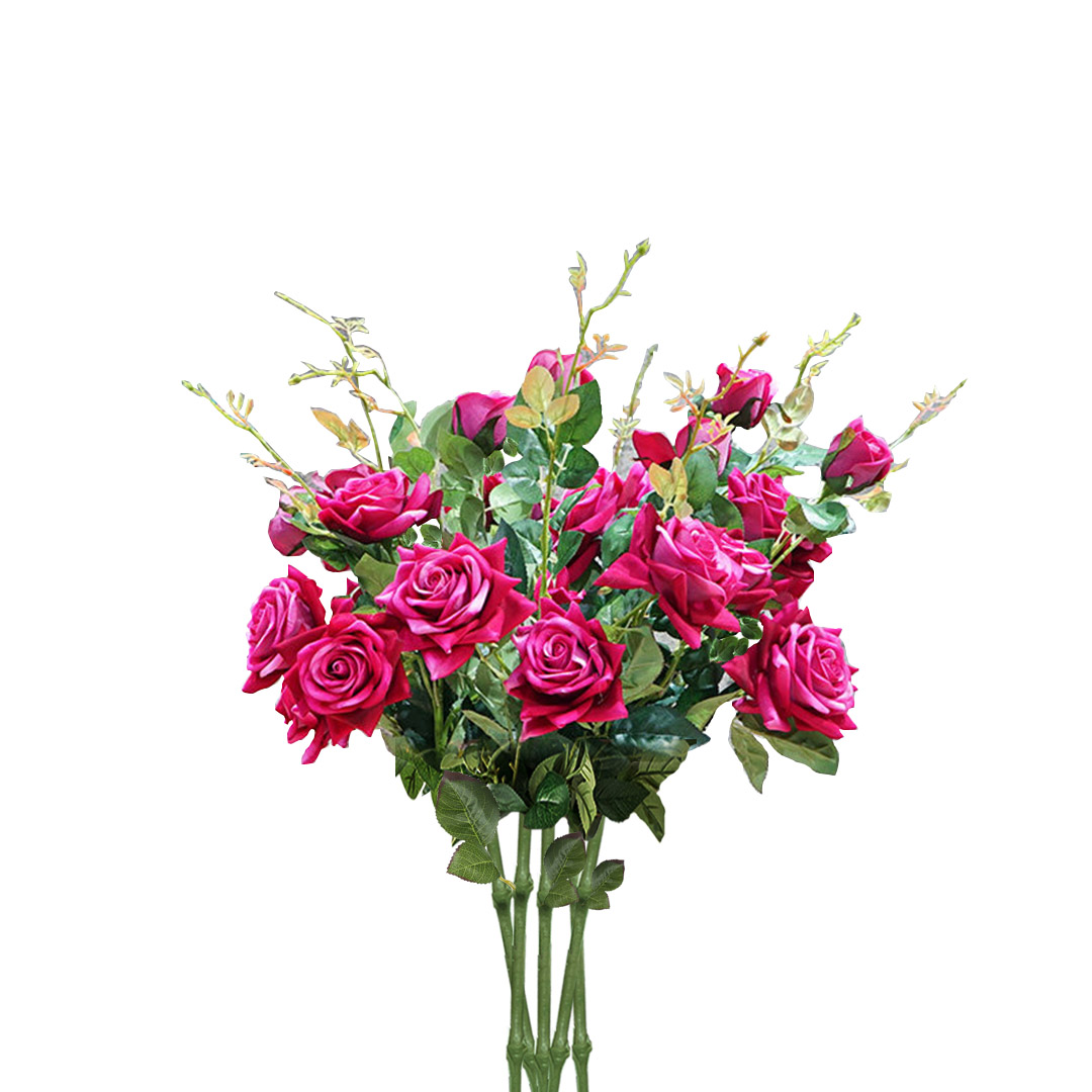 SOGA 8 Bunch Artificial Silk Rose 5 Heads Flower Fake Bridal Bouquet Table Decor Pink