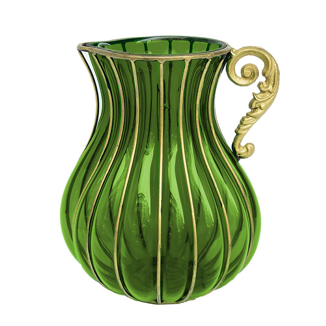 SOGA Green European Colored Glass Home Decor Jar Flower Vase with Metal Handle