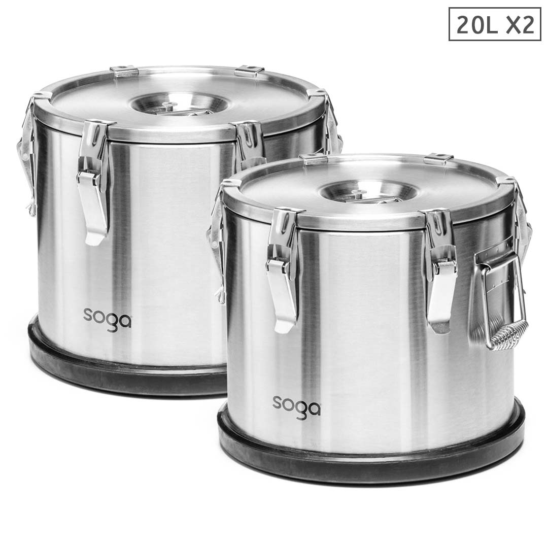 SOGA 2X 20L 304 Stainless Steel Insulated Food Carrier Warmer Container with Anti Slip Rubber Bottom