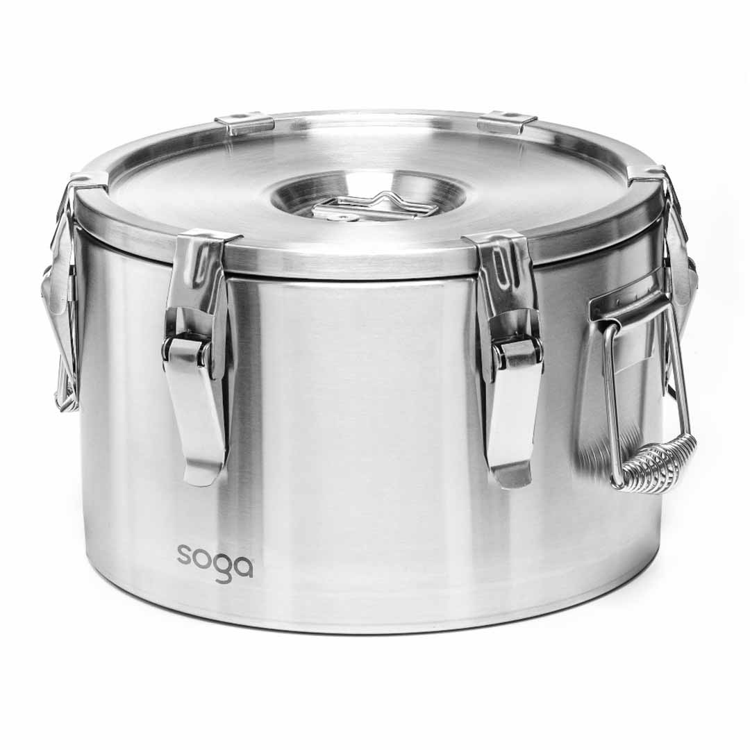 SOGA 15L 304 Stainless Steel Insulated Food Carrier Warmer Container