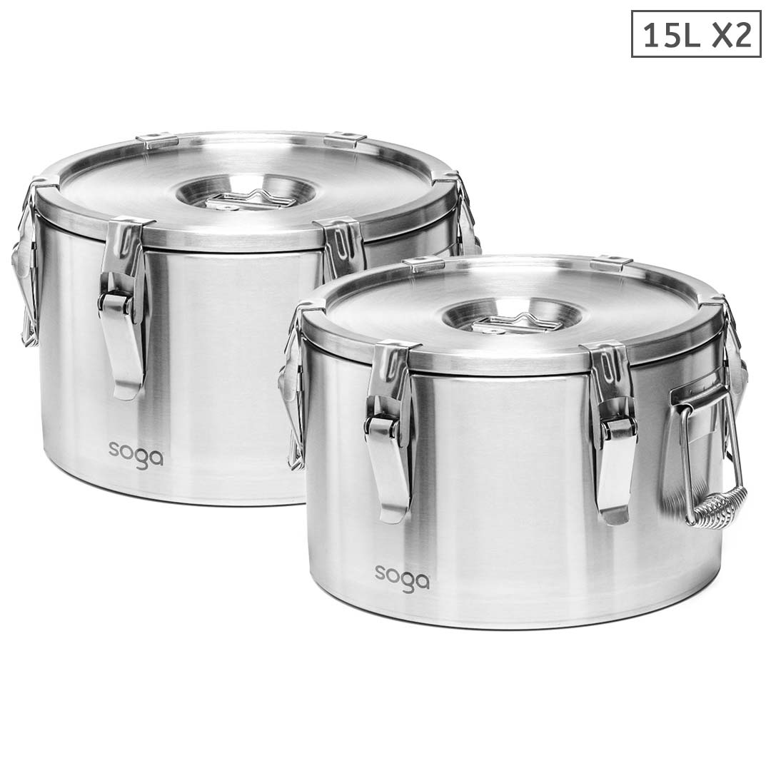 SOGA 2X 15L 304 Stainless Steel Insulated Food Carrier Warmer Container